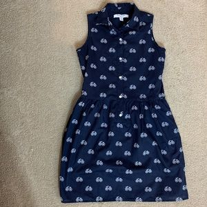 Brooks Brothers Size 12 Navy Bicycle Print Dress